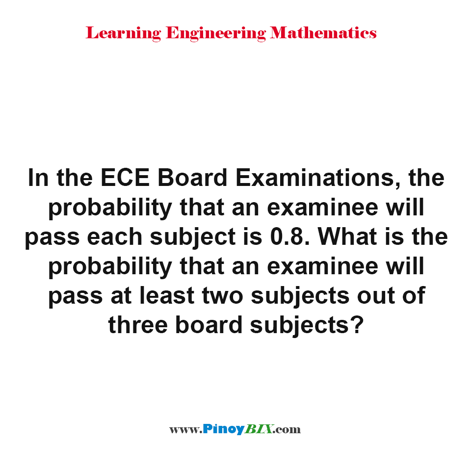 What is the probability that an examinee will pass at least two subjects out of three board subjects?
