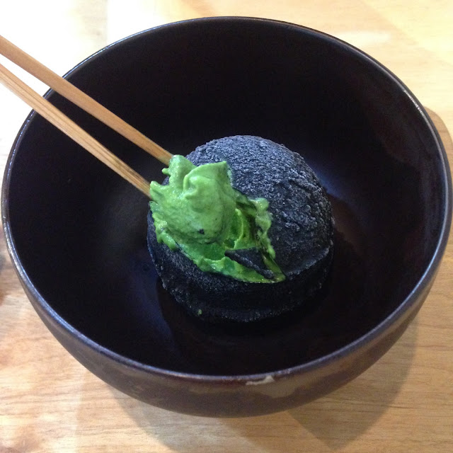 green and black umami charcoal and green tea ice cream