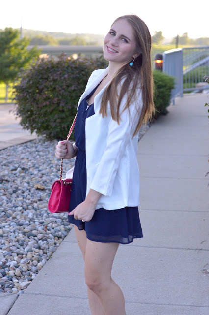 how to style a navy romper | navy romper for date night | white blazer | fourth of july outfit ideas | summer date night outfit ideas |