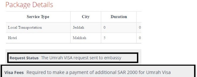 CHECK UMRAH VISA STATUS AND APPLICABLE FEE