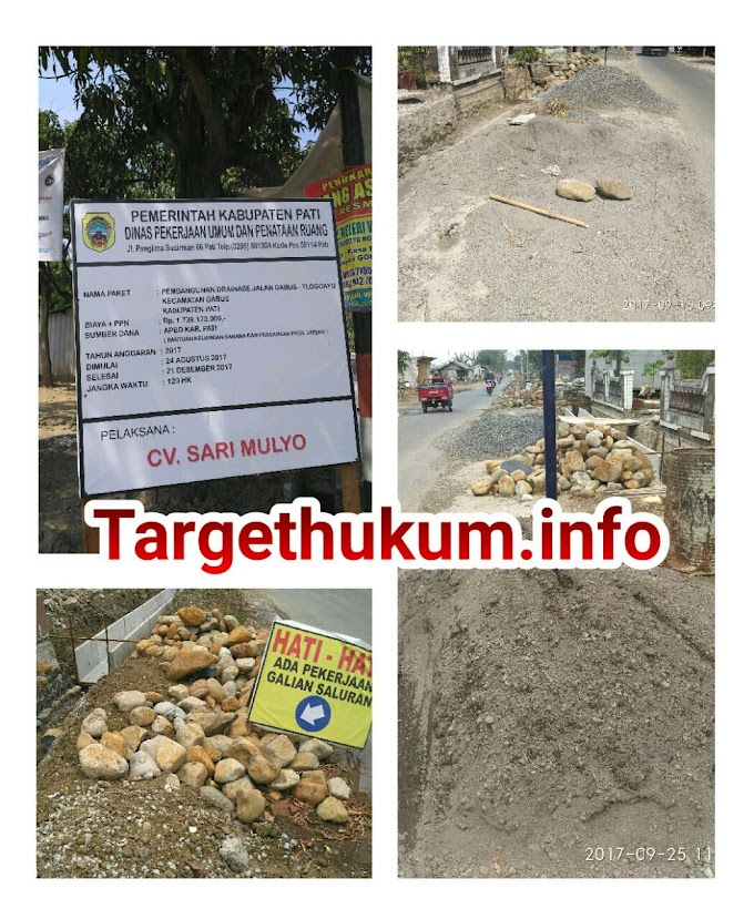 Dugaan Pembangunan Drainase Desa Tlogoayu Gabus Tidak Sesuai RAB