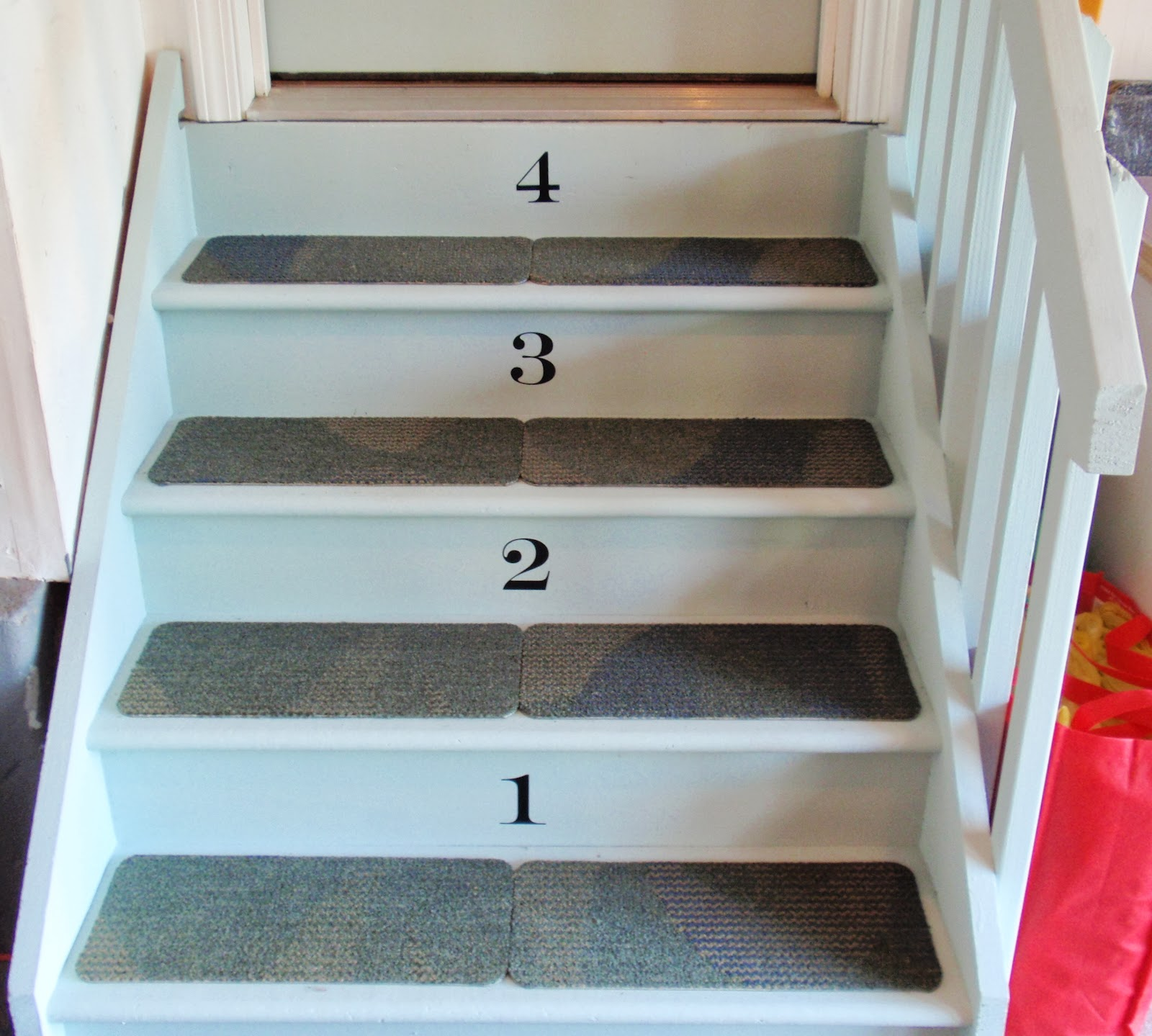 Diy By Design Painted Door And Stairs | Carpet Tiles For Steps