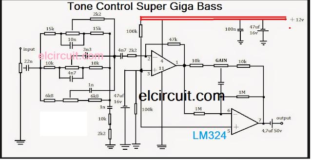 Tone Control Super Giga Bass circuit