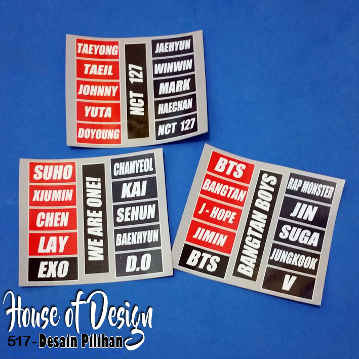 STICKER NAMA-NAMA IDOL KPOP CUSTOM MURAH