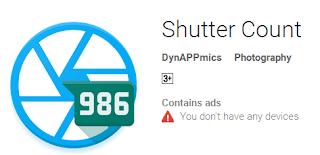 aplikasi android Shutter Count untuk cek shutter count