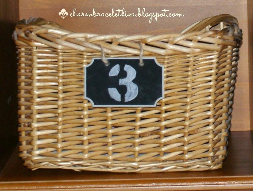 storage basket with number 3 chalkboard tag