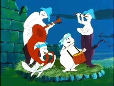 Four American Revolutionary cartoon ghosts playing instruments.