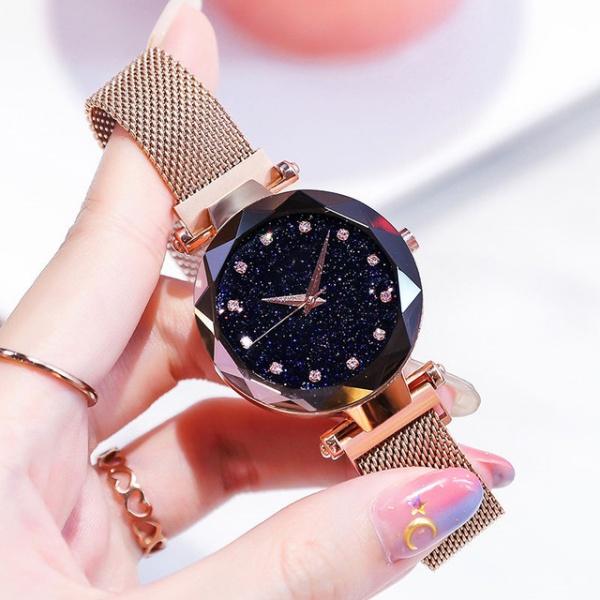 Fashion Elegant Magnet Buckle Vibrato Purple Gold Ladies Wristwatch Luxury Women Watches