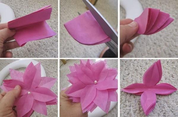 flores feitas de papel