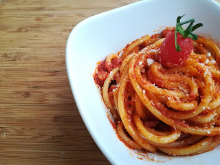 Bucatini all'Amatriciana originates from Amatrice, a town not from from Rieti famed for its food