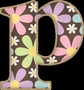 Alfabeto con Flores en Fondo Marrón.