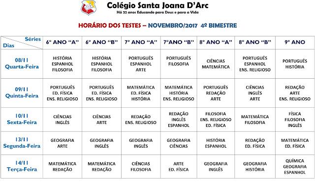HORÁRIO DE TESTES - FUNDAMENTAL II