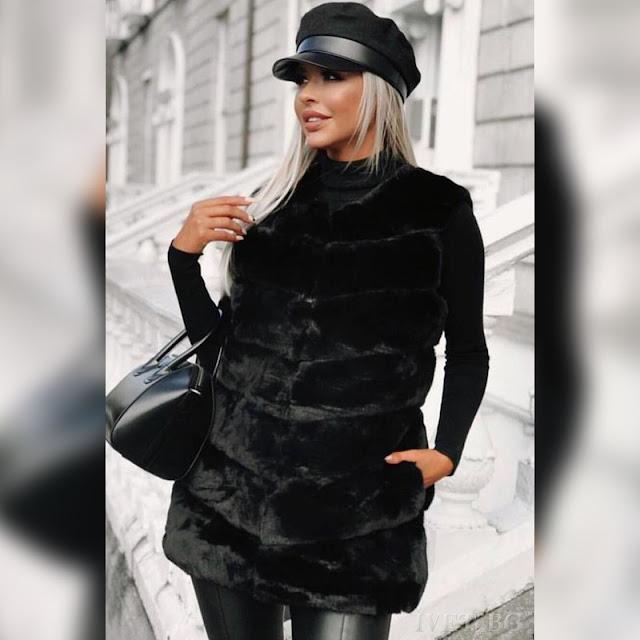Μοντέρνο γυναικείο μαύρο γιλέκο KALINELA BLACK