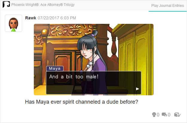 Phoenix Wright Ace Attorney Trials and Tribulations Maya Fey spirit channel male