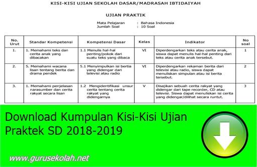 Download Kumpulan Kisi-Kisi Ujian Praktek SD 2018-2019