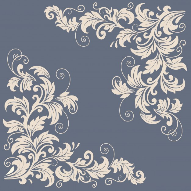 Vector floral design elements for page decoration Free Vector