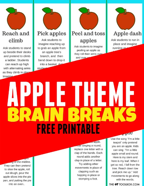 Apple themed brain breaks for kids to use in the classroom or as part of an apple theme in learning and play.