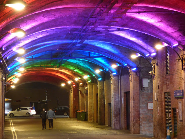 Rainbow lights in a tunnel underneath Leeds railway station