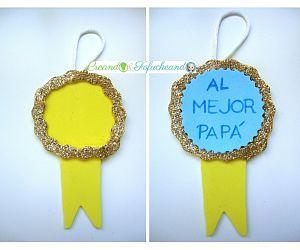 medalla para el dia del padre con goma eva de purpurina o brillantina