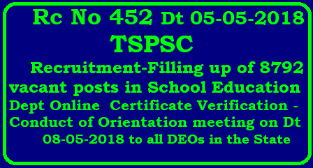 TSPSC -Recruitment-Filling up of 8792 vacant posts in School Education Dept -Online Certificate Verification -Conduct of Orientation meeting on Dt 08-05-2018/2018/05/tspsc-recruitment-filling-up-of-8792-vacant-posts-certificate-verification-conductof-orientation-meeting.html