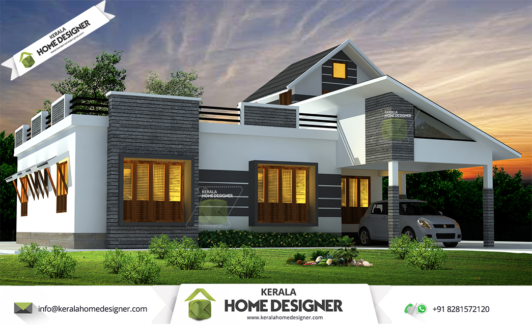 1676 sqft 3 bhk single floor low cost kerala home design for Low cost home design
