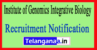 Institute of Genomics Integrative Biology IGIB Recruitment Notification 2017