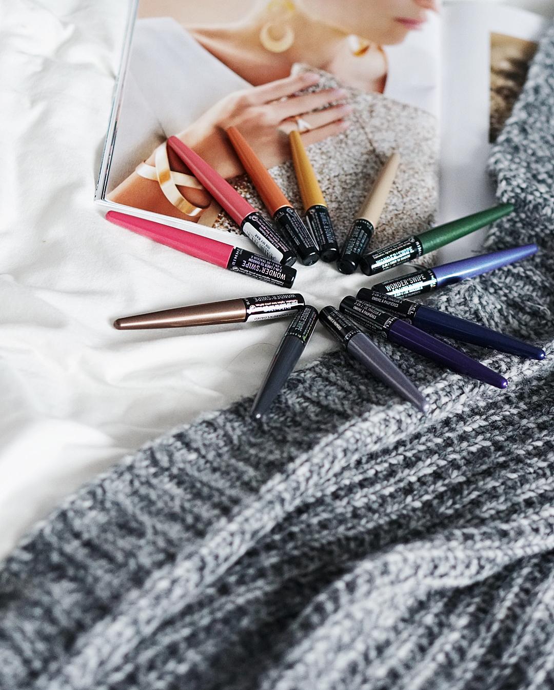 WONDER' SWIPE od marki RIMMEL, metaliczne eyelinery, kolorowe eyelinery, holo kosmetyki