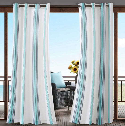 Blue Striped Outdoor Curtain Panels