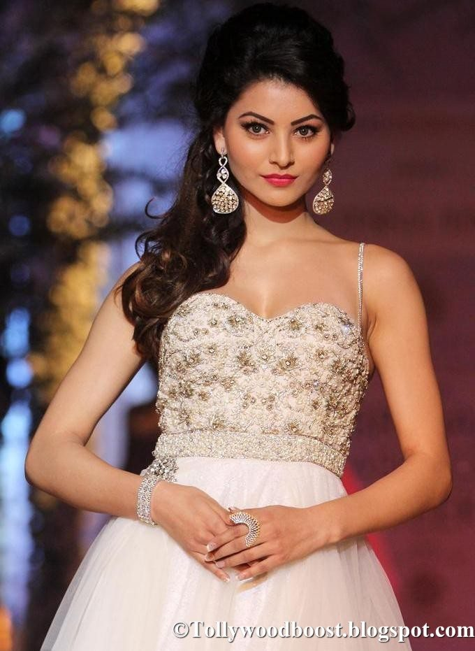 Indian Model Urvashi Rautela Long Hair Images In White Dress