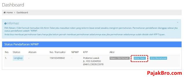 Minta Token NPWP Online