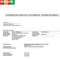mBank — dowód wypłaty 2017, program partnerski.