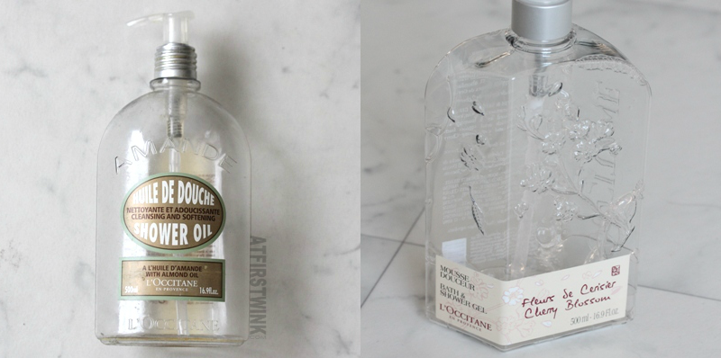 Emptied: L'Occitane cherry blossom shower gel and almond shower oil