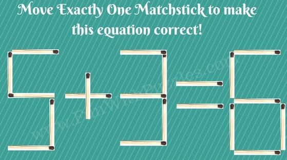 Maths Equation Brain Teaser with matchsticks