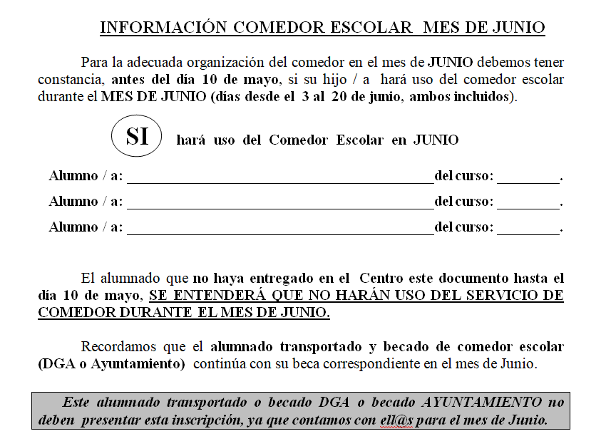 CEIP Miguel Artigas: COMEDOR ESCOLAR