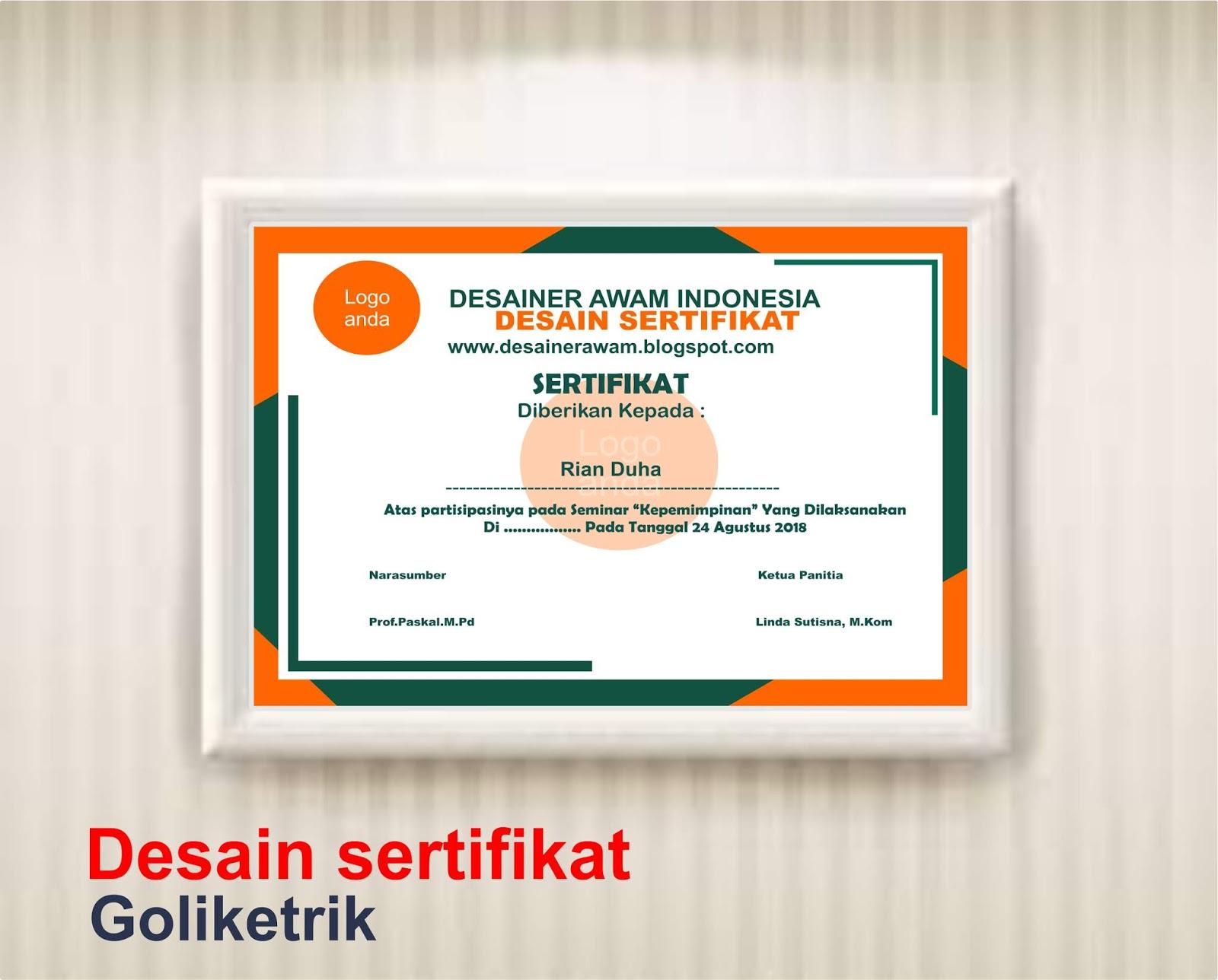 Desain Sertifikat Seminar Cdr Download Go Like Trik