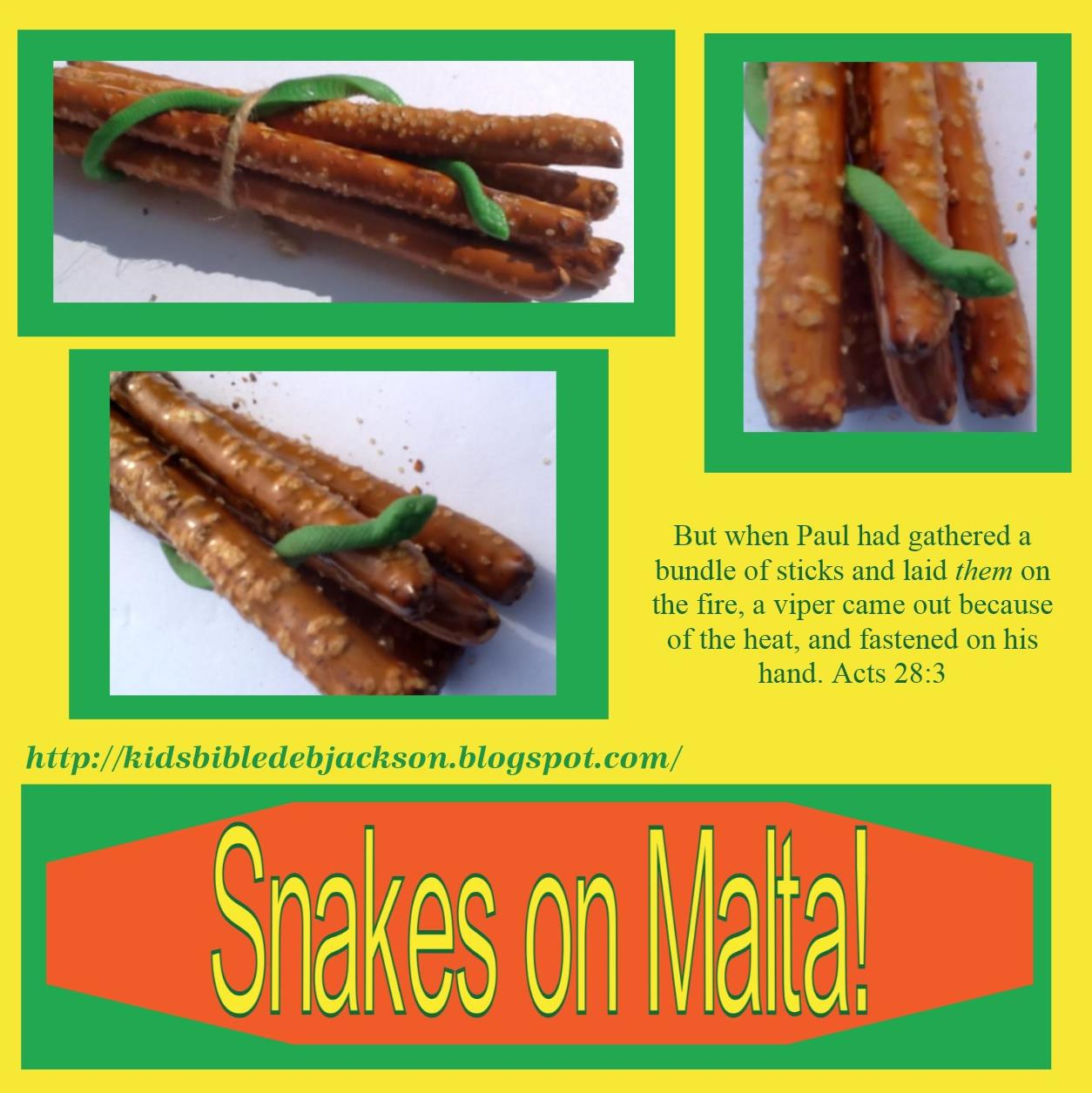 http://kidsbibledebjackson.blogspot.com/2013/03/paul-gets-bit-by-snake-on-malta.html