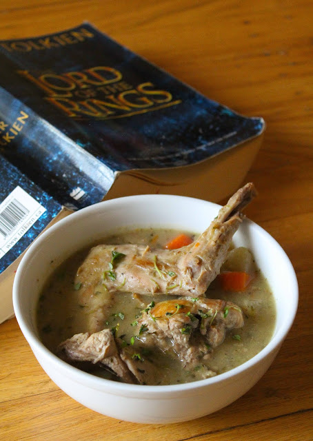 Tolkein fans and hobbits on a quest will both enjoy this rabbit stewed in herbs.