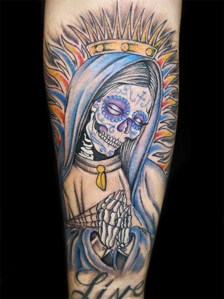 Santa Muerte Sleeve Tattoo Designs