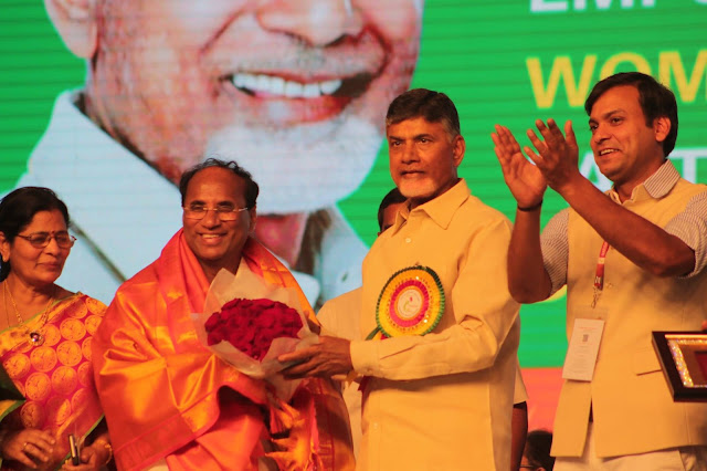 CM Chandra Babu Naidu Felicitating Dr. Kodela Rao, Speaker Andhra Pradesh Assembly for the successful hosting of NWP Also seen Rahul Kara