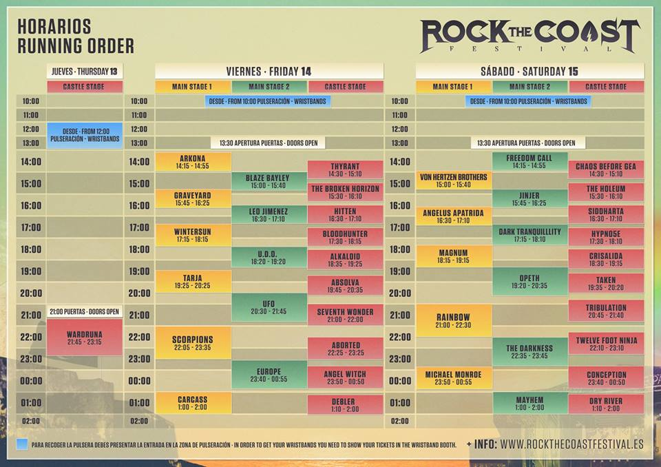 Horarios Rock The Coast