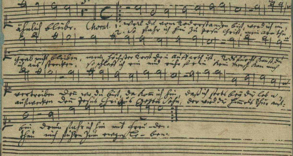 Here's the soprano part, from the autograph score facsimile at the  IMSLP/Petrucci Music Library.