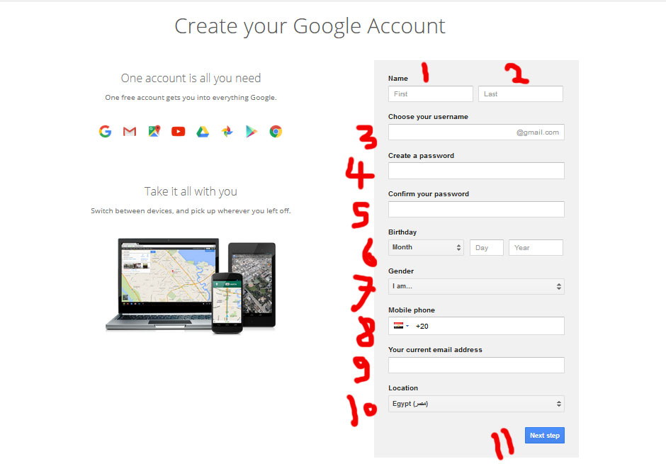 create an gmail account