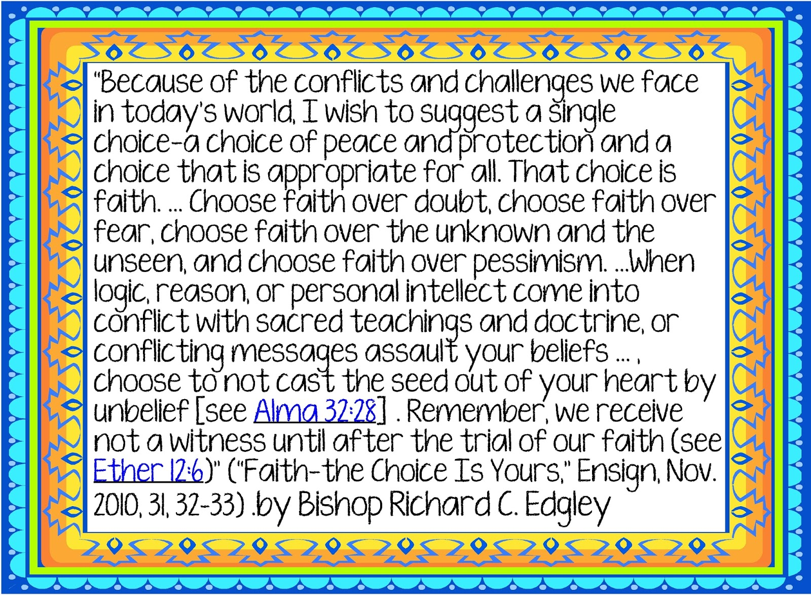 HollysHome - Church Fun: Choose Faith Printout - Quote by