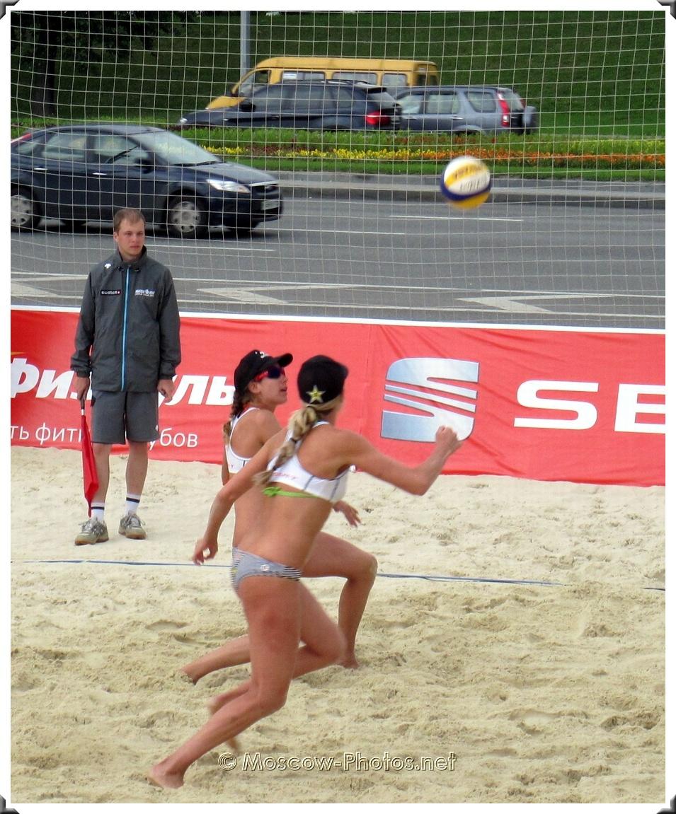 U.S. women's beach volleyball team in action