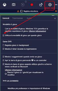 Modalità giochi - Windows 10 Creators Update v1703