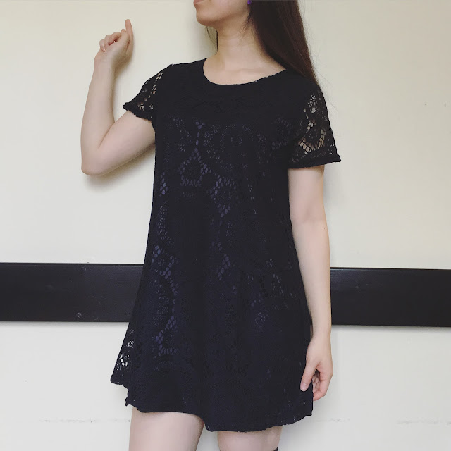 black lace dress, navy lace shift dress, ozspecials review, blog ozspecials, black lace dress princess, lace dress shift review, black outfit, fantail flo outfit