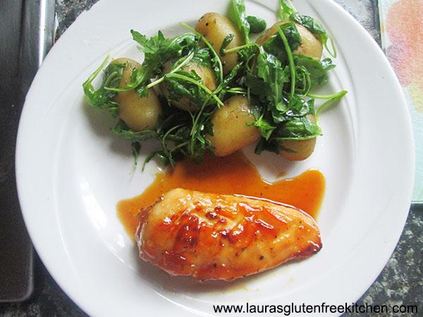 Gluten Free Marmalade Chicken with Rocket Potatoes
