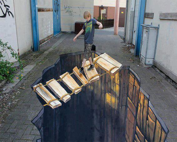 لوحات 3d فن الرسم على الأرضالجدران الطريق وأماكن أخرى