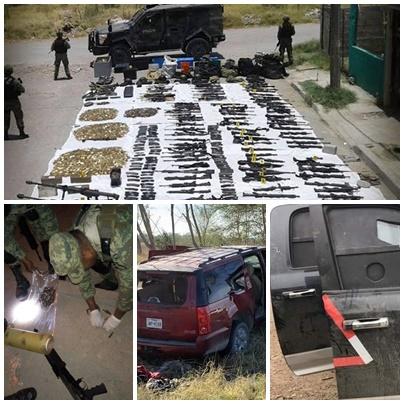 Mas de 140 armas, miles de cartuchos, toneladas de droga, decenas de vehículos etc, lo decomisado en Tamaulipas