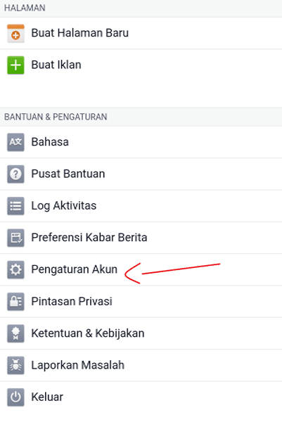 setting akun android facebook